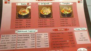 Milky Pot menu